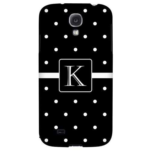 Monogram K on Classic Mini Polka Dots - Geeks Designer Line Monogram Series Hard Back Case for Samsung Galaxy S4