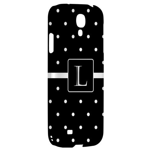 Monogram L on Classic Mini Polka Dots - Geeks Designer Line Monogram Series Hard Back Case for Samsung Galaxy S4