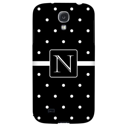 Monogram N on Classic Mini Polka Dots - Geeks Designer Line Monogram Series Hard Back Case for Samsung Galaxy S4