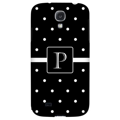 Monogram P on Classic Mini Polka Dots - Geeks Designer Line Monogram Series Hard Back Case for Samsung Galaxy S4
