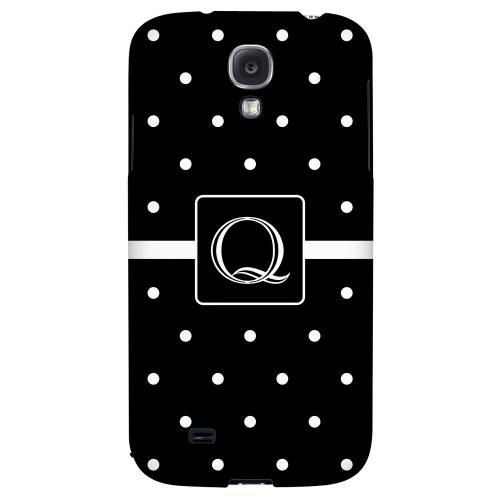 Monogram Q on Classic Mini Polka Dots - Geeks Designer Line Monogram Series Hard Back Case for Samsung Galaxy S4