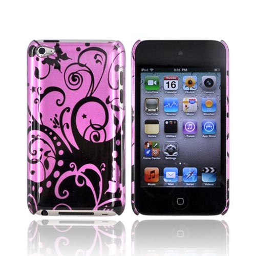Luxmo Apple iPod Touch 4 Hard Back Cover Case - Black Swirl Design on Purple