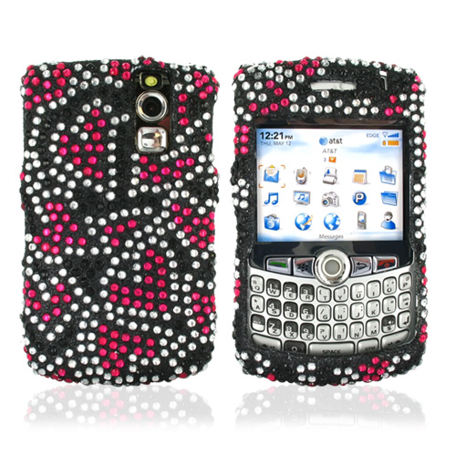 Blackberry Curve 8330, 8320, 8310, 8300 Bling Hard Case - Pink Hearts on Black Diamonds