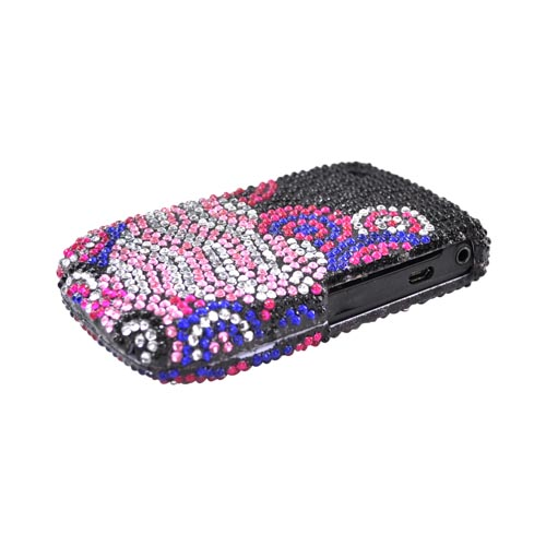 Blackberry Curve 3G 9330, 9300, 8520, 8530 Bling Hard Case - Pink Heart Bubble on Black
