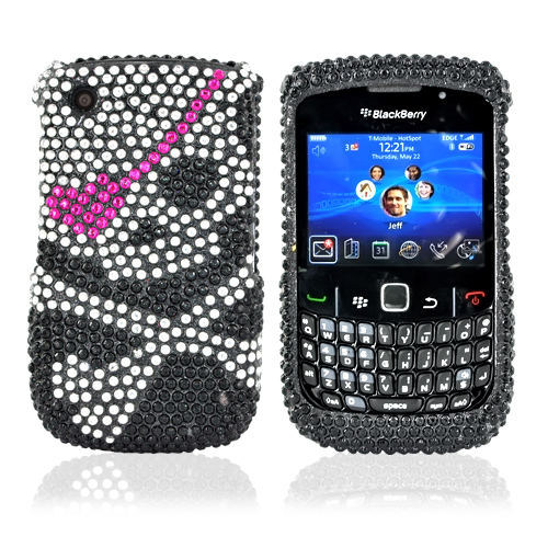 Blackberry Curve 3G 9330, 9300, 8520, 8530 Bling Hard Case - Silver Skull With Hot Pink Eye Patch on Black Gems