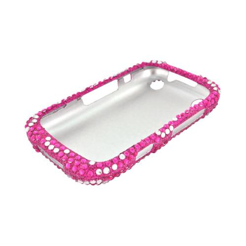 BlackBerry Curve 9310/9320 Bling Hard Case - Silver Hearts on Hot Pink Gems