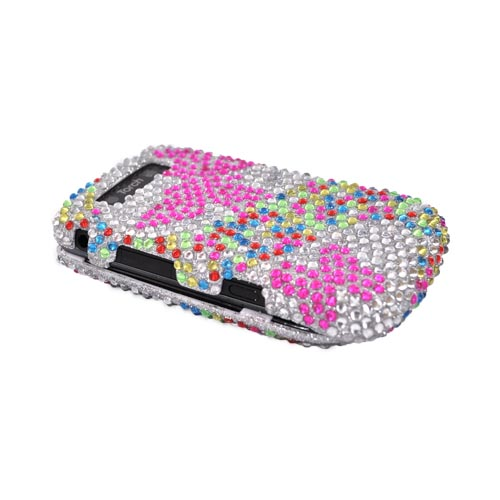 Blackberry Torch 9800 Bling Hard Case - Pink Butterfly on Silver