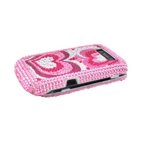 Blackberry Torch 9800 Bling Hard Case - Triple Pink Hearts on Silver Gems