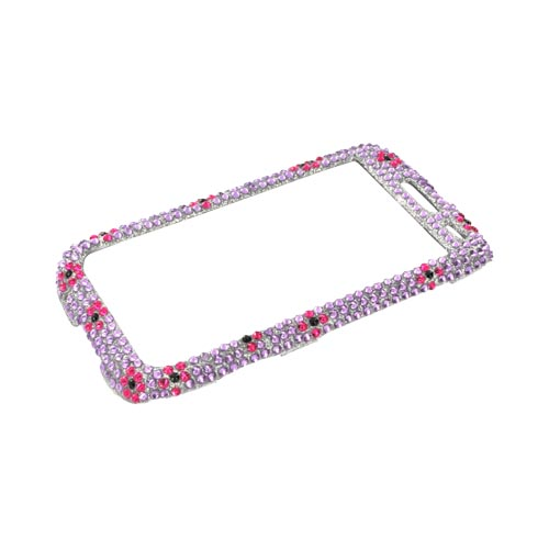 Blackberry Torch 9850 Bling Hard Case - Purple/ Black Heart on Light Purple Gems