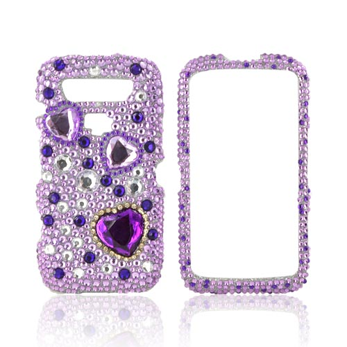 Blackberry Torch 9860, 9850 Bling Hard Case - Purple Hearts on Light Purple/ Silver Gems