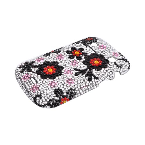 Blackberry Bold 9900, 9930 Bling Hard Case - Red/ Black Daisies on Silver Gems