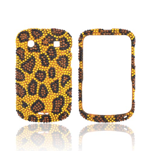 Blackberry Bold 9900, 9930 Bling Hard Case - Brown/ Black Leopard on Gold Gems
