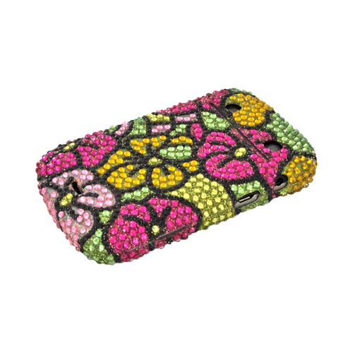 Blackberry Bold 9900, 9930 Bling Hard Case - Green/ Magenta/ Yellow Hawaiian Flowers