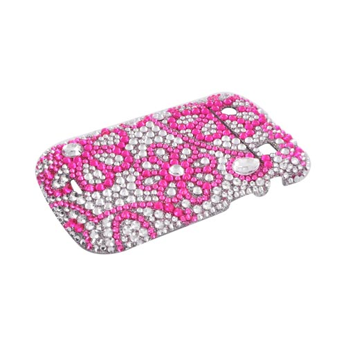 Blackberry Bold 9900, 9930 Bling Hard Case - Pink Lace Flowers on Silver Gems