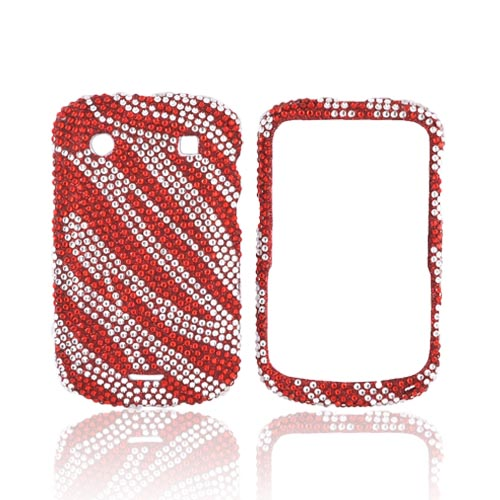 Blackberry Bold 9900, 9930 Bling Hard Case - Red Zebra on Silver Gems