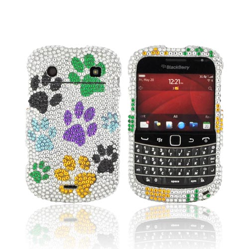 Blackberry Bold 9900, 9930 Bling Hard Case - Multi-Color Paw Prints on Silver Gems