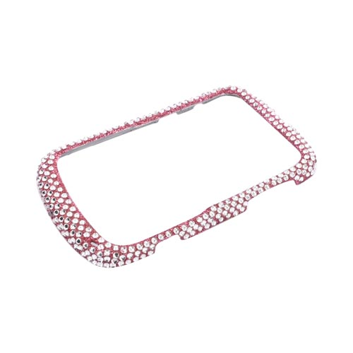 Blackberry Bold 9900, 9930 Bling Hard Case - Pink/ Silver on Pink Gems