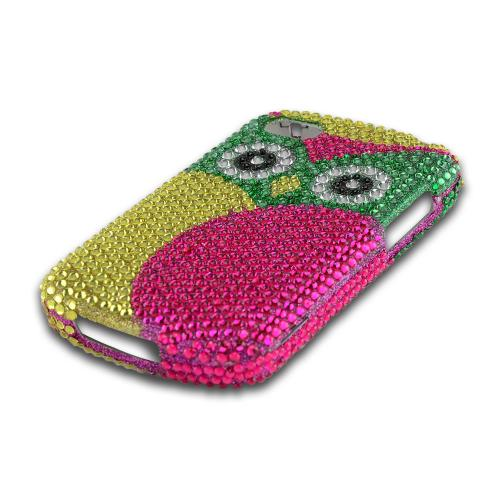 Green/ Hot Pink/ Yellow Owl Bling Hard Case for Blackberry Q10