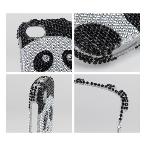 Black/Silver Panda Bling Hard Case for Blackberry Q10