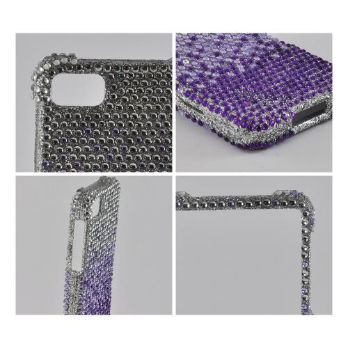 Purple/ Lavender Waterfall on Silver Gems Bling Hard Case for Blackberry Z10