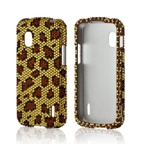 Brown Leopard on Gold Gems Bling Hard Case for Google Nexus 4