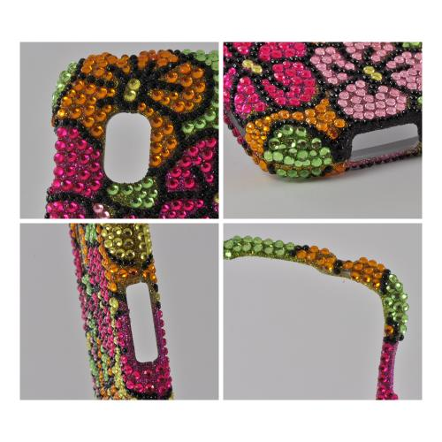 Green/ Hot Pink/ Yellow Hawaiian Flowers Bling Hard Case for Google Nexus 4