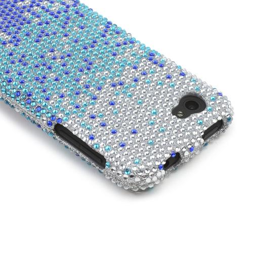 Blue/ Turquoise Waterfall on Silver Gems Bling Hard Case for HTC First