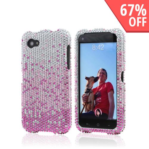 Hot Pink/ Baby Pink Waterfall on Silver Gems Bling Hard Case for HTC First