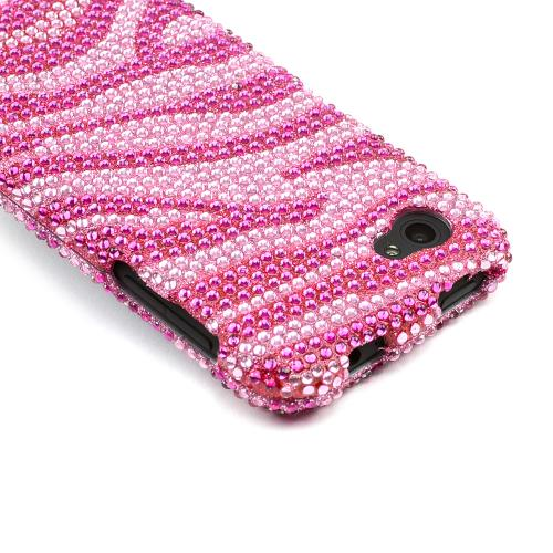 Hot Pink/ Baby Pink Zebra Bling Hard Case for HTC First