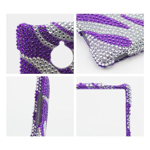 Purple Zebra on Silver Gems Bling Hard Case for HTC 8XT