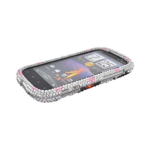 HTC Amaze 4G Bling Hard Case - Black/ Red Daisies on Silver Gems