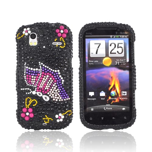 HTC Amaze 4G Bling Hard Case - Pink/ Purple Butterfly on Black Gems