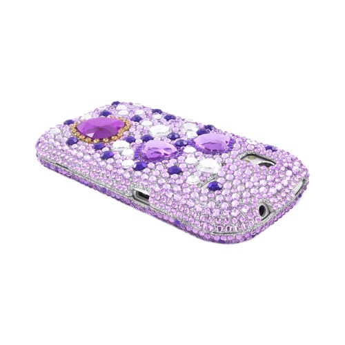 HTC Amaze 4G Bling Hard Case - Purple/ Silver Hearts on Light Purple Gems