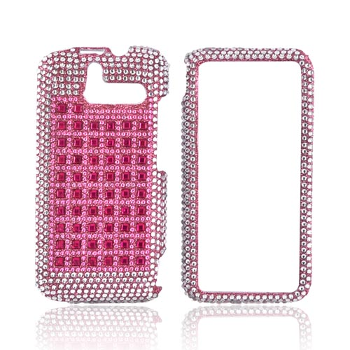 HTC Arrive Bling Hard Case - Pink/ Silver on Pink Gems