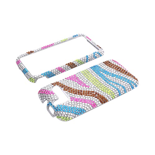 HTC Arrive Bling Hard Case - Rainbow Zebra on Silver Gems