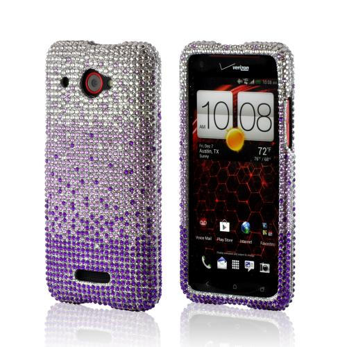 Purple/ Lavender Waterfall on Silver Gems Bling Hard Case for HTC Droid DNA