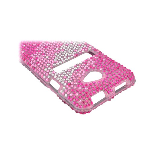 HTC EVO 4G LTE Bling Hard Case - Pink Splash on Silver Gems