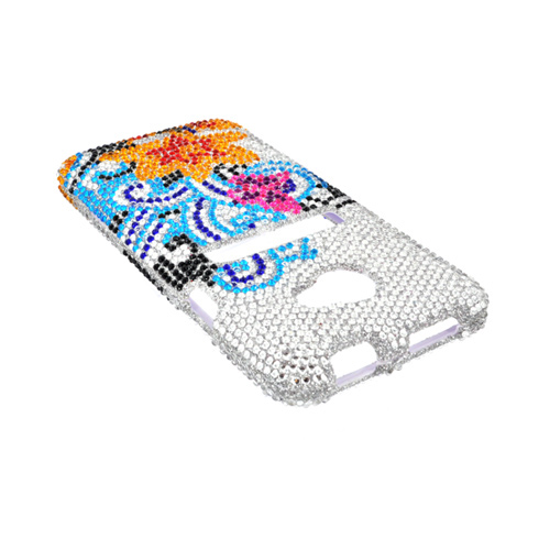 HTC EVO 4G LTE Bling Hard Case - Yellow Lily w/ Turquoise Swirls on Silver Gems