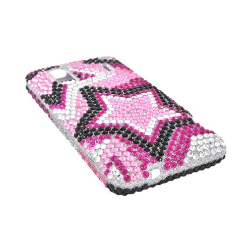 HTC EVO Design 4G Bling Hard Case w/ Crowbar - Black/ Magenta/ Pink Stars on Silver Gems