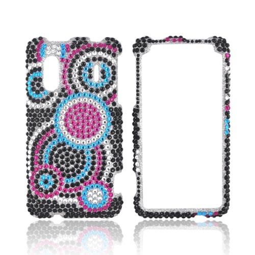 HTC EVO Design 4G Bling Hard Case w/ Crowbar - Hot Pink/ Turquoise/ Black Bubbles on Silver Gems