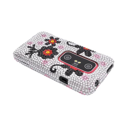 HTC EVO 3D Bling Hard Case - Black Daisies on Silver Gems