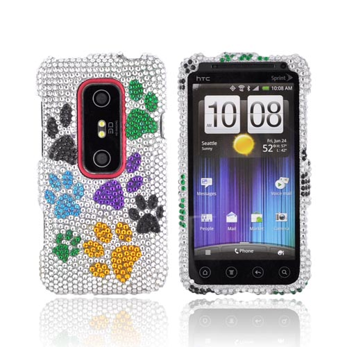 HTC EVO 3D Bling Hard Case - Rainbow Paw Prints on Silver Gems
