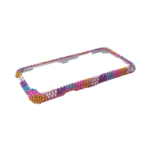 HTC EVO 3D Bling Hard Case - Rainbow Stripes on Pink