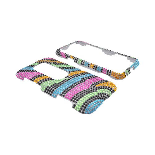 HTC EVO 3D Bling Hard Case - Rainbow Zebra on Silver