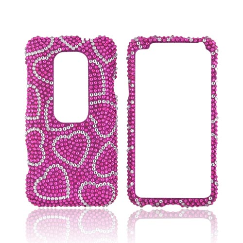 HTC EVO 3D Bling Hard Case - Silver Hearts on Pink Gems