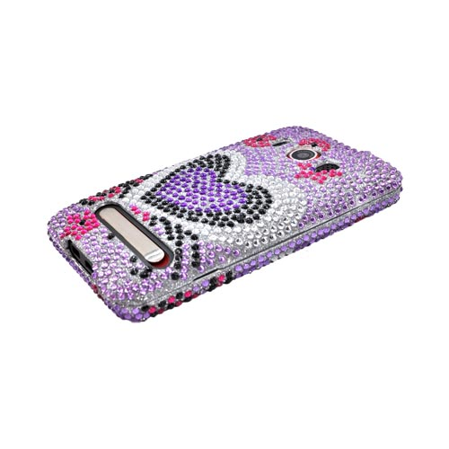 HTC EVO 4G Bling Hard Case - Purple Heart on Purple Gems