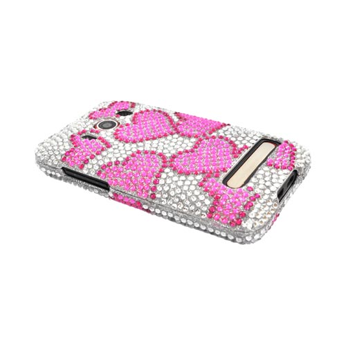 HTC EVO 4G Bling Hard Case - Pink Hearts on Silver