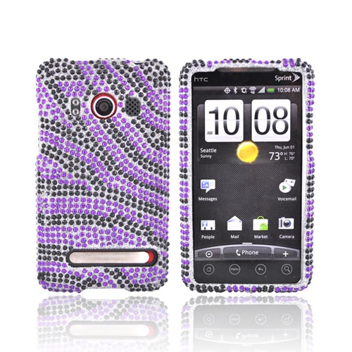 HTC EVO 4G Bling Hard Case - Purple/Black Zebra