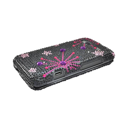 T-Mobile G2 Bling Hard Case - Supernova Pink Star on Black