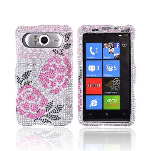 HTC HD7 / HTC HD7s Bling Hard Case - Pink Winter Rose on Silver